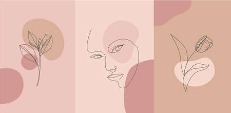 Vector minimalist style portrait. Line flower, woman portrait. Hand drawn abstract feminine print. Use for social net stories, beauty , poster illustration, card