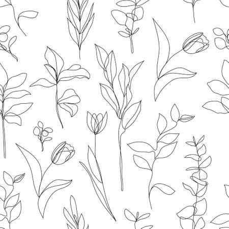 Vector flower linear simpless background, roses with leaves, ornament, pattern with black single contour line on white background in hand drawn style, plant Illustration