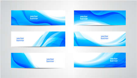 Vector abstract flow wavy banners set. Water, stream, energy stream horizontal backgrounds. Wave Liquid, transparent Illustration