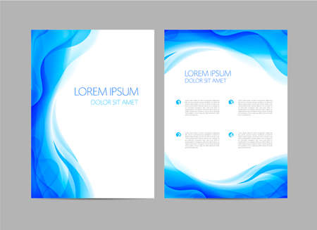 Vector set of abstract blue annual report templates, water covers, wavy background, flyers, brochures. Flow