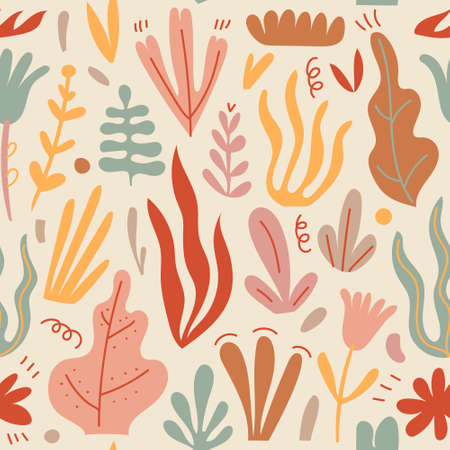 Vector hand drawn floral seamless pattern. Home decor, background, card. Children abstract and floral design in doodle style. illustration, plants cute leaves
