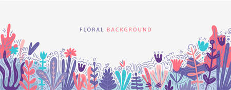 Vector flat nature background with copy space for text, hand drawn plants, flowers. Horizontal orientatation banner, greeting card, poster, cover, backdrop