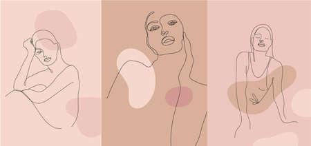 Vector minimalist style portrait. Line women portrait. Hand drawn abstract feminine print. Use for social net stories, beauty, poster illustration, card