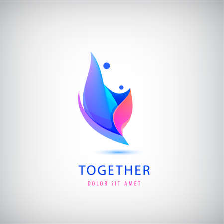 Vector 2 person. Love, support, two people together icon, concept. Hug and embrace, close friends together, child adoption, support, parent, mother