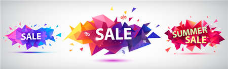 Vector set of facet geometric banners, shapes for sale, promotion design. Colorful triangular illustrations, tags, stickers.