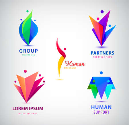 Vector set of men, people group, family . Child adoption collection and charitable foundations.