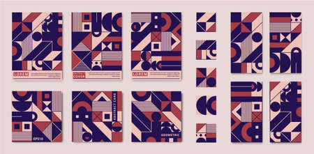 Vector set of abstract geometric square cards, A4 covers, design elements, booklets, annual reports, flyers, story templates. Retro branding collection. Modern art design and trendy Bauhaus