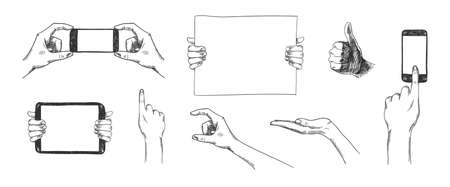 Vector set of hand drawn hands, holding phone, tablet pc, poster, palm sketch collection. Use for advertising, presentation