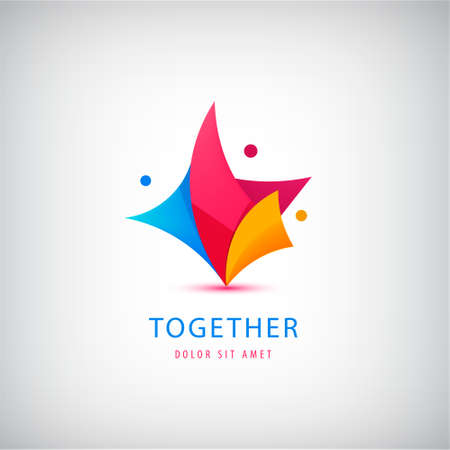 Vector3 person , teamwork. Love, support, three people together icon, concept. Hug and embrace, close friends together, child adoption, support, parent, mother, father, together Illustration