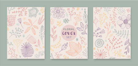 Set of vector abstract creative universal artistic templates - doodle hand drawn flowers, leaves. Use for poster, card, invitation, flyer, cover, banner, placard, brochure, graphic design.