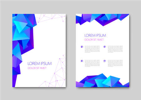 Set of vector bright abstract polygonal contemporary templates, posters, placards, brochures, banners, flyers, backgrounds and etc. Facet, low poly template covers