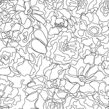 Vector abstract continuous line seamless floral pattern. Hand drawn flowers, petals graphic linear background. Art, hand-drawn. Black and white Illustration