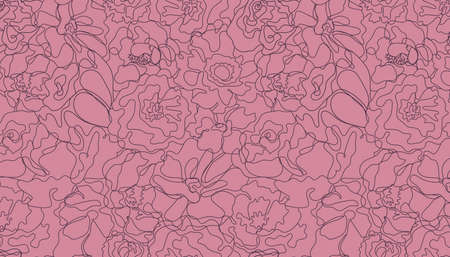 Vector abstract continuous line seamless floral pattern. Hand drawn flowers, petals graphic linear background. Art, hand-drawn