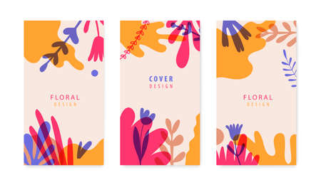 Vector set of abstract backgrounds. Garden posters, flowers composition layout and trendy social media story templates, bright vibrant banners