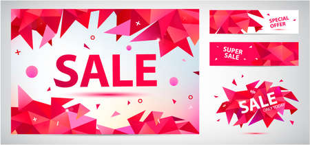 Vector set of geometric anstract sale banners, discount facet triangular red backgrounds, horizontal orientation. Graphic illustrations for advertising, marketing, design and art projects