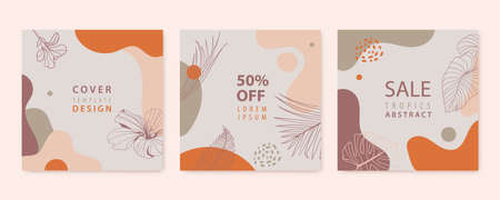 Vector set of nature, floral backgrounds, social media stories, posts feed layouts. Texture frame mockup. Use for beauty, jewelry, fashion, cosmetics, wedding, summer.