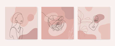 Vector beauty backgrounds, social media stories, posts feed layouts. Set of illustrations with one line continuous woman face and leaves. Contemporary collage with geometric shapes Illustration