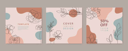 Vector set of nature, floral backgrounds, social media stories, posts feed layouts. Texture frame mockup. Use for beauty, jewelry, fashion, cosmetics, wedding, summer.Linear plants