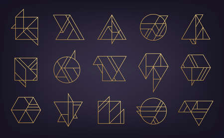 Vector set of abstract geometric logos. Art deco, hipster, golden line style. Circle, triangle, polygon linear shapes. Aztec, magic, esoteric icons