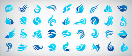 Vector set of wave logos. Graphic symbols of ocean, flowing sea water stylized for business identity. Illustration water logo, flow, stream Illustration