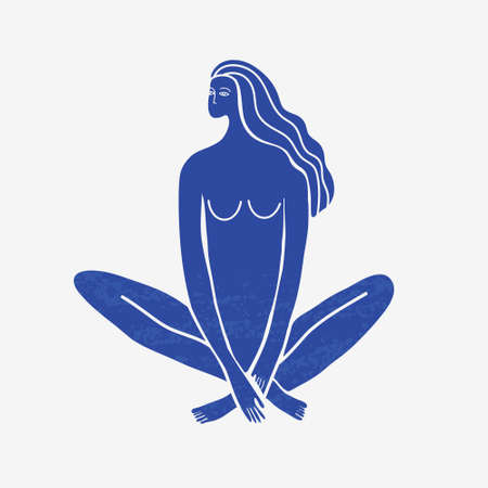 Vector abstract woman sitting, meditation, long hair, blue textured silhouette.