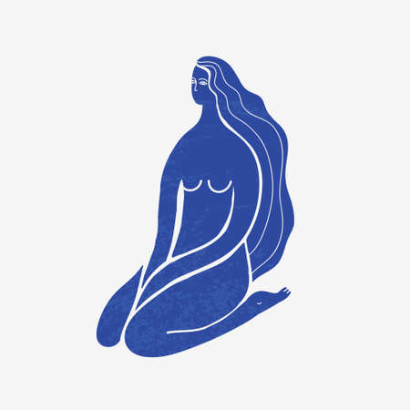 Vector abstract woman sitting, long hair, blue textured silhouette. Matisse stylized. Illustration