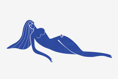 Vector abstract woman laying down, long hair, blue textured silhouette. Matisse stylized. Illustration
