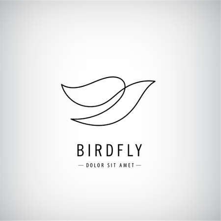 Vector one line bird logo, flying silhouette, continuous monoline concept, abstract icon, sign isolated. Use for print, brand, tatoo, art