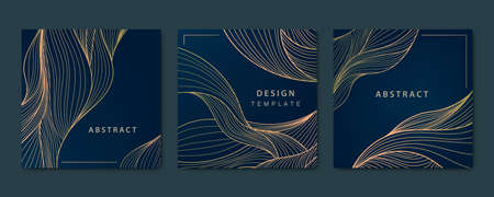 Vector set of abstract luxury golden square cards, post templates for social net, wavy line art background. Art Deco Pattern, texture for print, fabric, packaging design.