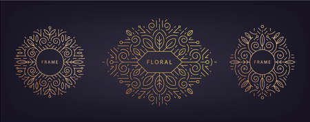 Vector set of linear design templates with copy space for text, leaves - wedding invitation backgrounds and frames, social media stories wallpapers. Artdeco nature golden frames.