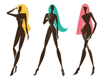 Vector set of stylized women standing, long hair, black textured silhouettes. Feminine concept, art illustration. Use as poster, print for t-shirt, design element for beauty products