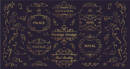 Vector set of vintage swirls, golden borders and frames. Luxury Wedding Logo with Ornament Baroque style design for invitation and brand identity. Business signs, logos, identity, spa