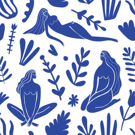 Vector abstract feminine, women figures illustration seamless pattern. Matisse inspired blue nature background. Sitting and laying women with long hair among plants