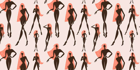 Vector seamless feminine, woman standing in various poses pattern. Silhouettes illustration.