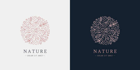 Vector linear plant logo. Circle luxury organic emblem. Abstract badge for natural products, flower shop, cosmetics, ecology concepts, health, spa, yoga center. Leaves and florals