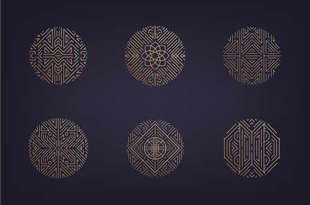 Vector set of art deco linear circles, linear round symbols, decorative design templates, monogram luxury logos. Geometric