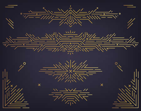 Vector set of art deco linear dividers, borders, frames, decorative design elements. Creative geometric abstract templates in classic retro style of 1920s. Use for packaging, ad, as banner