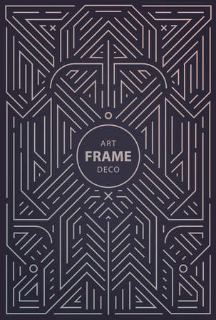 Vector abstract geometric art deco frame, border, background. Linear trendy style. Monogram art deco design elements in trendy vintage and mono line style with space for text. Illustration