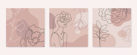 Vector beauty backgrounds, social media stories, posts feed layouts. Set of illustrations with one line continuous woman face and leaves. Contemporary collage with geometric shapes.