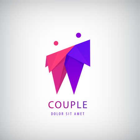 Vector 2 men logo, team icon, cooperation sign. Origami couple. People identity, partnership logotype. Hug and embrace