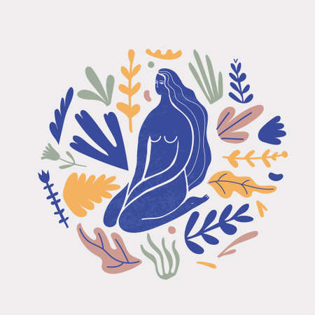 Vector stylized woman sitting with florals, long hair, blue silhouette illutration. Feminine concept, art illustration. Use as poster, print for t-shirt, design element for beauty products