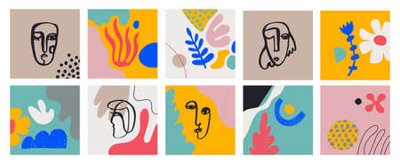 Vecto set of cards with hand drawn Faces, Leaves, Flowers, abstract shapes. Doodle, art modern posters. Contemporary collage blob illustrations. Continuous line, minimalistic concept