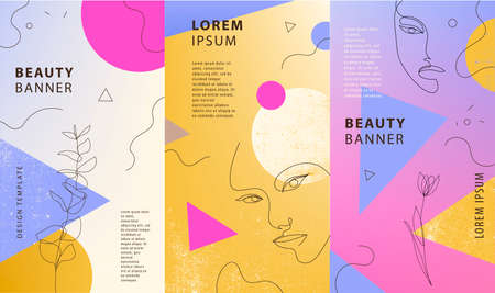 Vector set of gradient covers for social media stories, cards, flyer, poster, mobile app, banners. Geometric shapes and continuous line woman portraits Illustration