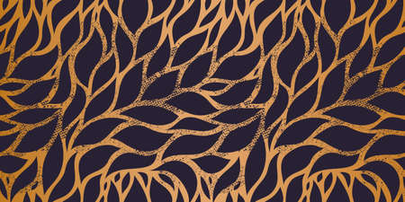 Vector seamless leaf Wallpaper, Luxury nature leaves pattern design, Golden banana leaf line arts, Hand drawn outline design for fabric , print, cover, banner and invitation.