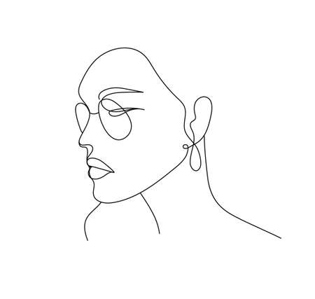 Vector linear face art, woman portrait with glasses and earrings. Continuous line, fashion beauty concept, woman minimalist, illustration pretty sexy