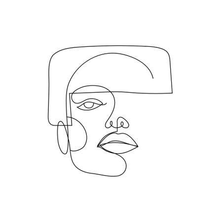 Vector linear face art, woman portrait Continuous line, fashion beauty concept, woman minimalist, illustration pretty sexy. 60s style. Illustration