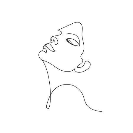 Vector linear face art, woman portrait Continuous line, fashion beauty concept, woman minimalist, illustration pretty sexy