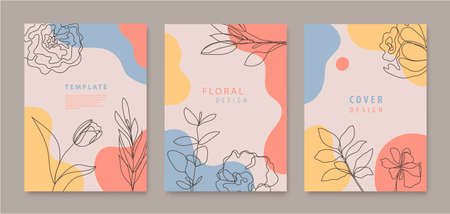 Vector set of continuous line flowers, leaves covers, banners, posters, cards, social media stories, flyers design templates. Trendy design with waves, pastel