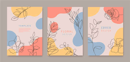 Vector set of continuous line flowers, leaves covers, banners, posters, cards, social media stories, flyers design templates. Trendy design with waves, pastel color