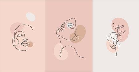 Vector minimalist style portrait. Line flower, woman portrait. Hand drawn abstract feminine print. for social net stories, beauty logos, poster illustration, card, t-shirt print. Art woman line face